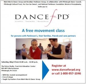 Dance for PD is bringing their program to Pittsburgh.  Yes, You Can Dance! is supporting their efforts.
